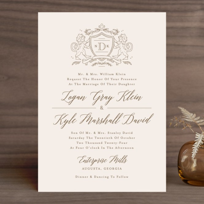 Classic Crest Customizable Wedding Invitations In Beige Or Gold By Kristen Smith