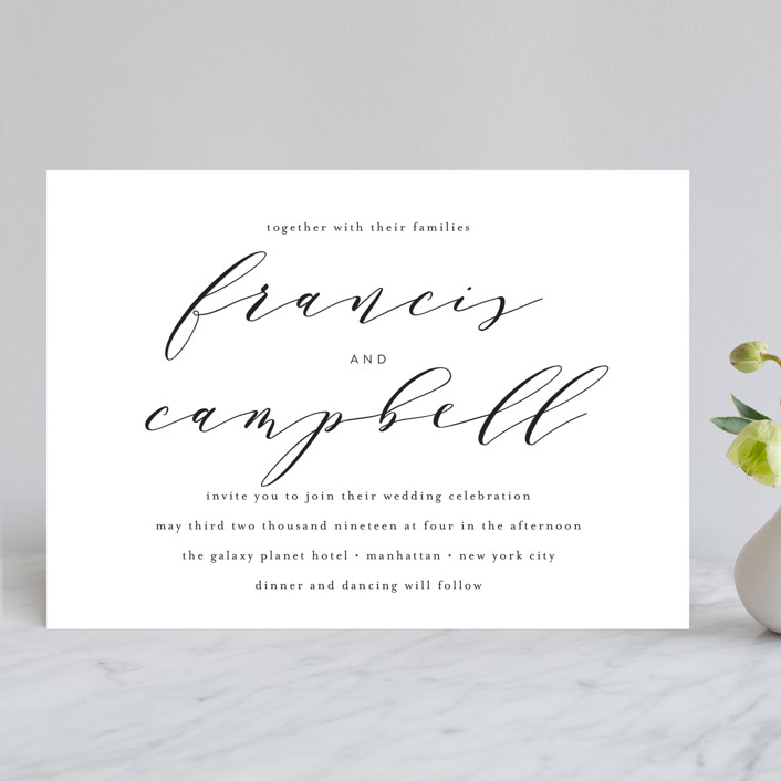 Simple Elegance Wedding Invitations In Tuxedo By Phrosne
