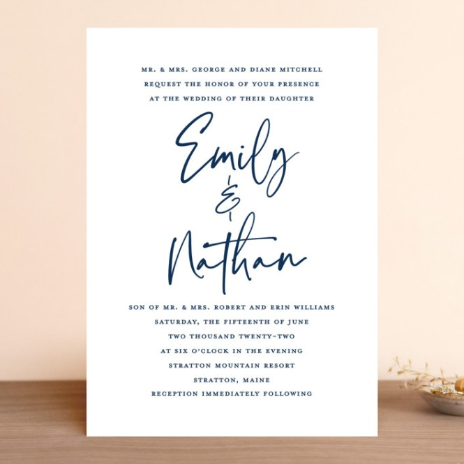 Semi Formal Customizable Wedding Invitations In Blue By Paper Dahlia