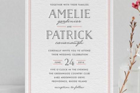 Inline Type Letterpress Wedding Invitations