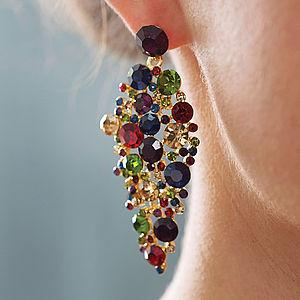 Jewel Tone Chandelier Statement Earrings