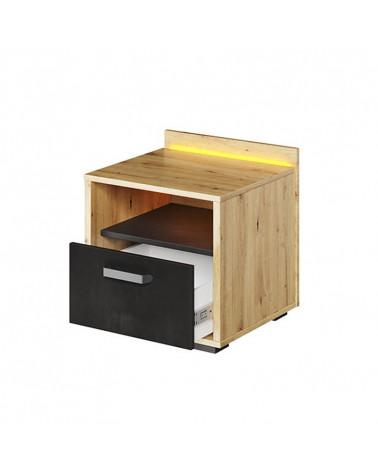 table de chevet qubic avec tiroir et eclairage led pour chambre ado
