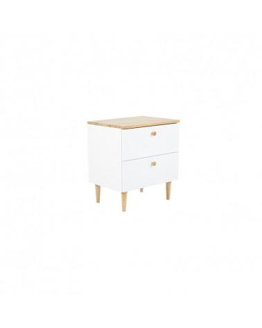 table de chevet blanc et bois scandi avec 2 tiroirs pour chambre enfant