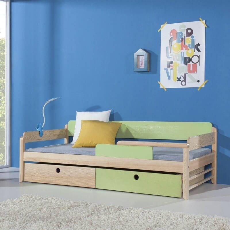 lit enfant natu personnalisable couleur pin et vert pastel avec tiroirs