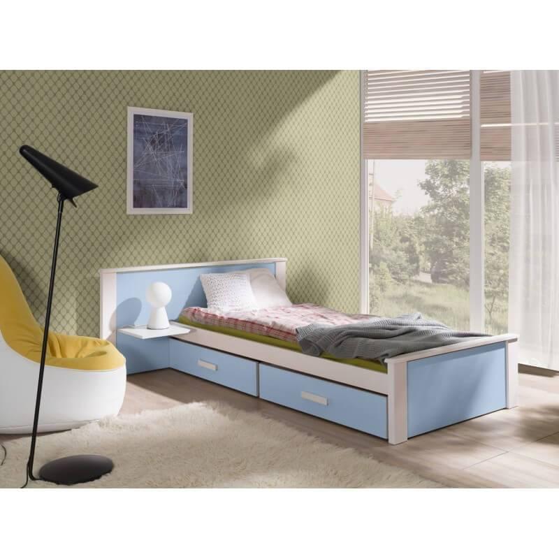 lit enfant et adolescent aldo avec tiroirs et table de chevet integree