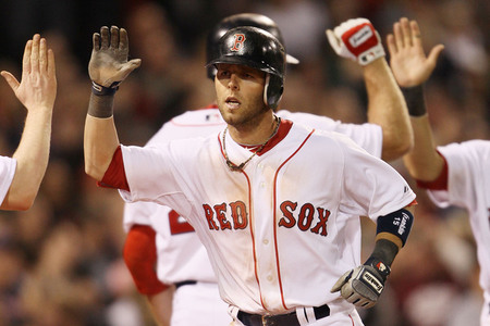 BOSTON - APRIL 04:  Dustin Pedroia #15 of the Boston Red Sox is congratulated after he hit a two run homer in the seventh inning against the New York Yankees on April 4, 2010 during Opening Night at Fenway Park in Boston, Massachusetts.  (Photo by Elsa/Getty Images)