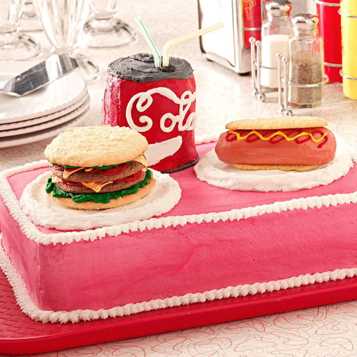 Burger N Hot Dog Cake Recipe Taste Of Home