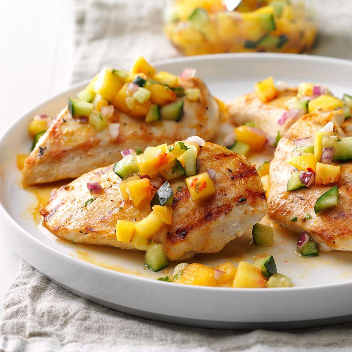 Chicken with Peach-Cucumber Salsa Recipe | Taste of Home