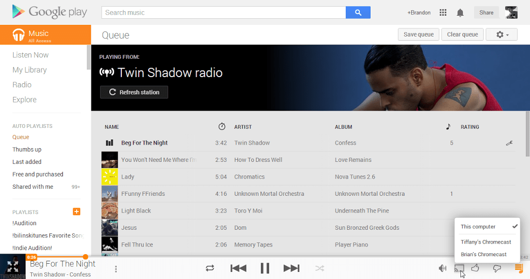 music cast Google Chromecast now supports casting Google Play Movies and Music from the Web