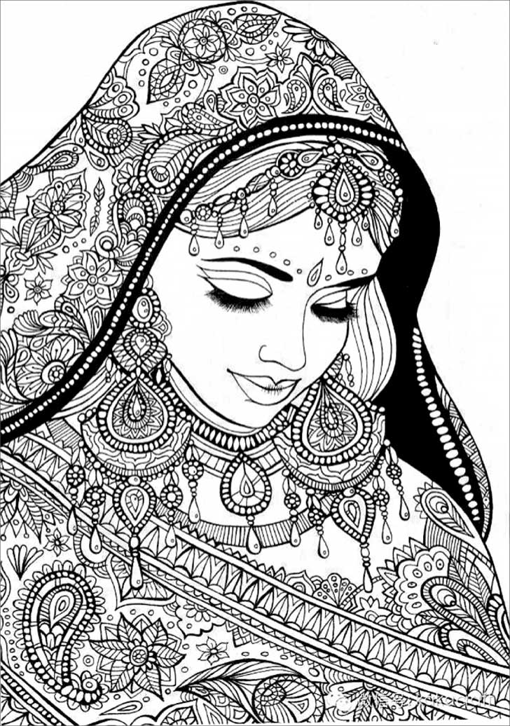 woman hijab henna detailed coloring colouring page adults