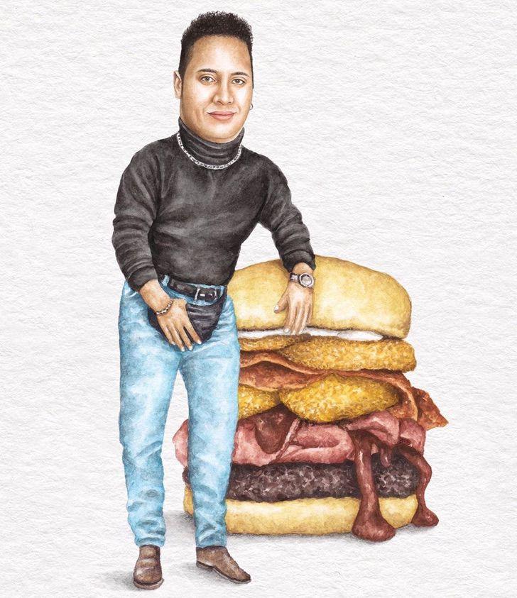 8 14 - Artista abre el apetito con los famosos posando sobre deliciosos sándwiches