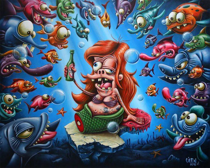 """3 85 - Así lucirían estos 14 personajes Disney si hubiesen tenido una """"mala vida"""". Ariel parece un monstruo"""