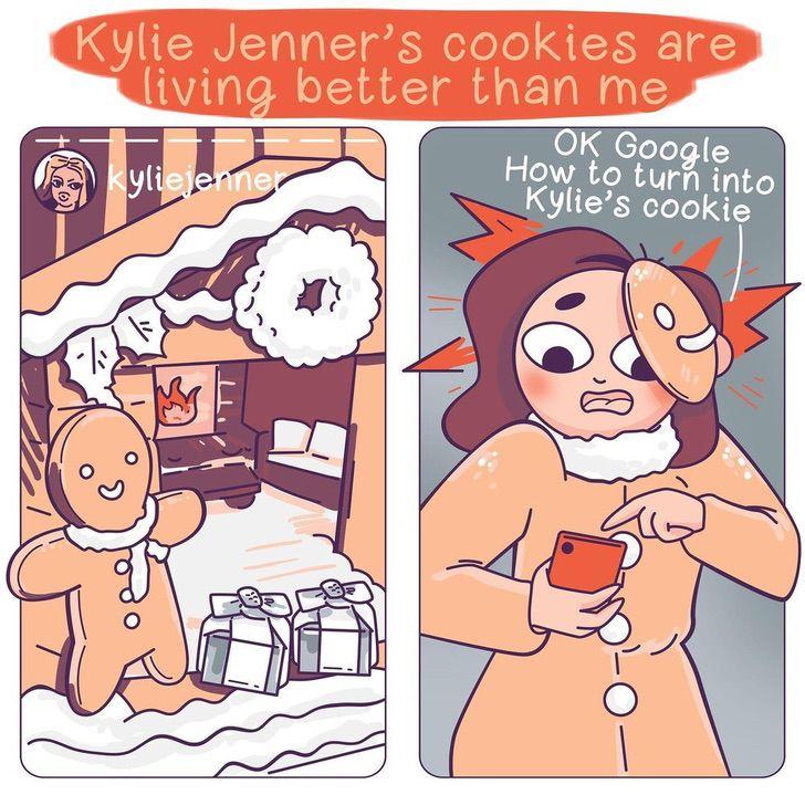 17 1 - Artista ilustra cómo es su vida versus la vida de las celebs. No hay punto de comparación