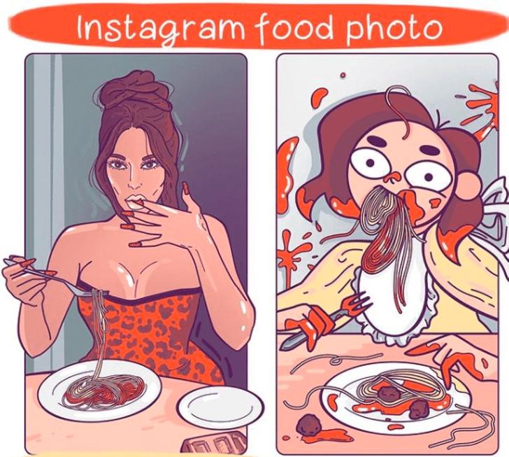 8 5 - Artista ilustra cómo es su vida versus la vida de las celebs. No hay punto de comparación