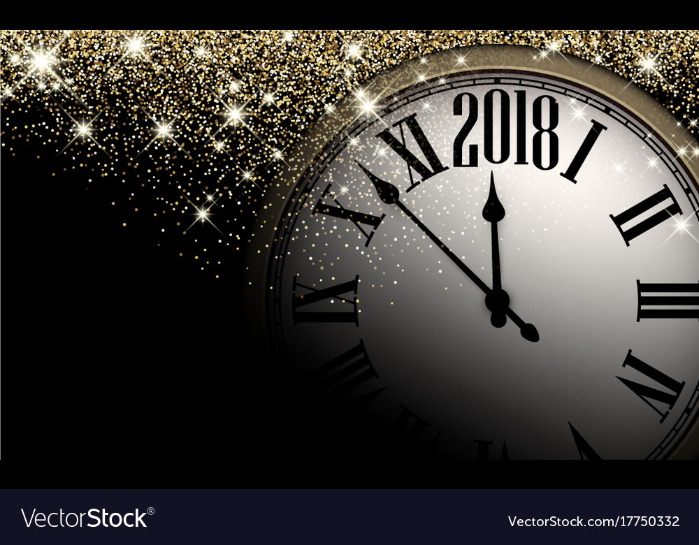 Black 2018 new year clock background Royalty Free Vector Black 2018 new year clock background vector image
