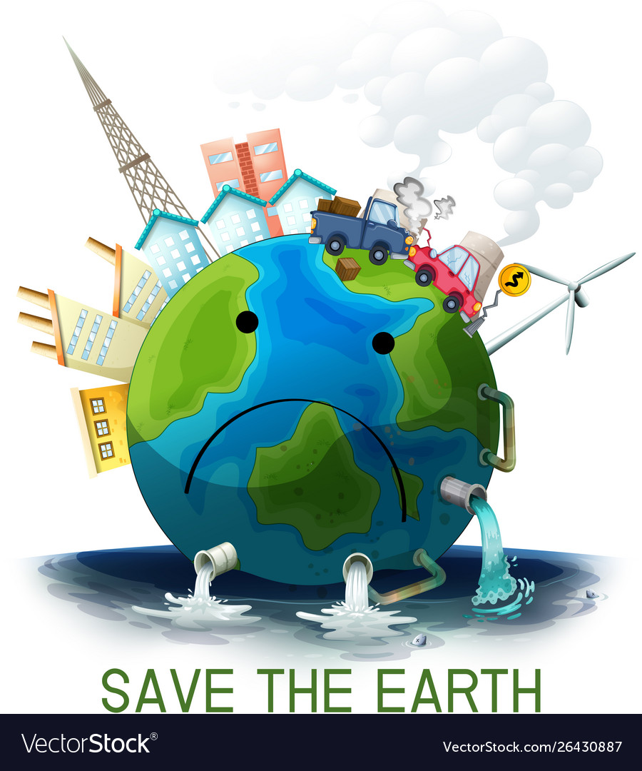 Sad Polluted Save Earth Poster Royalty Free Vector Image