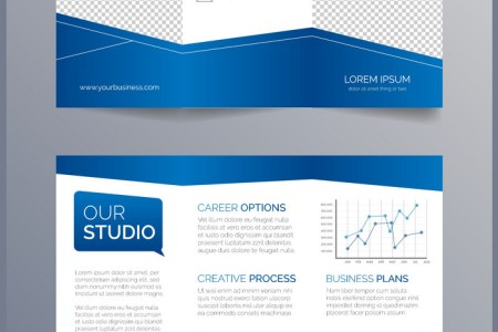 Business trifold brochure template   modern blue Vector Image