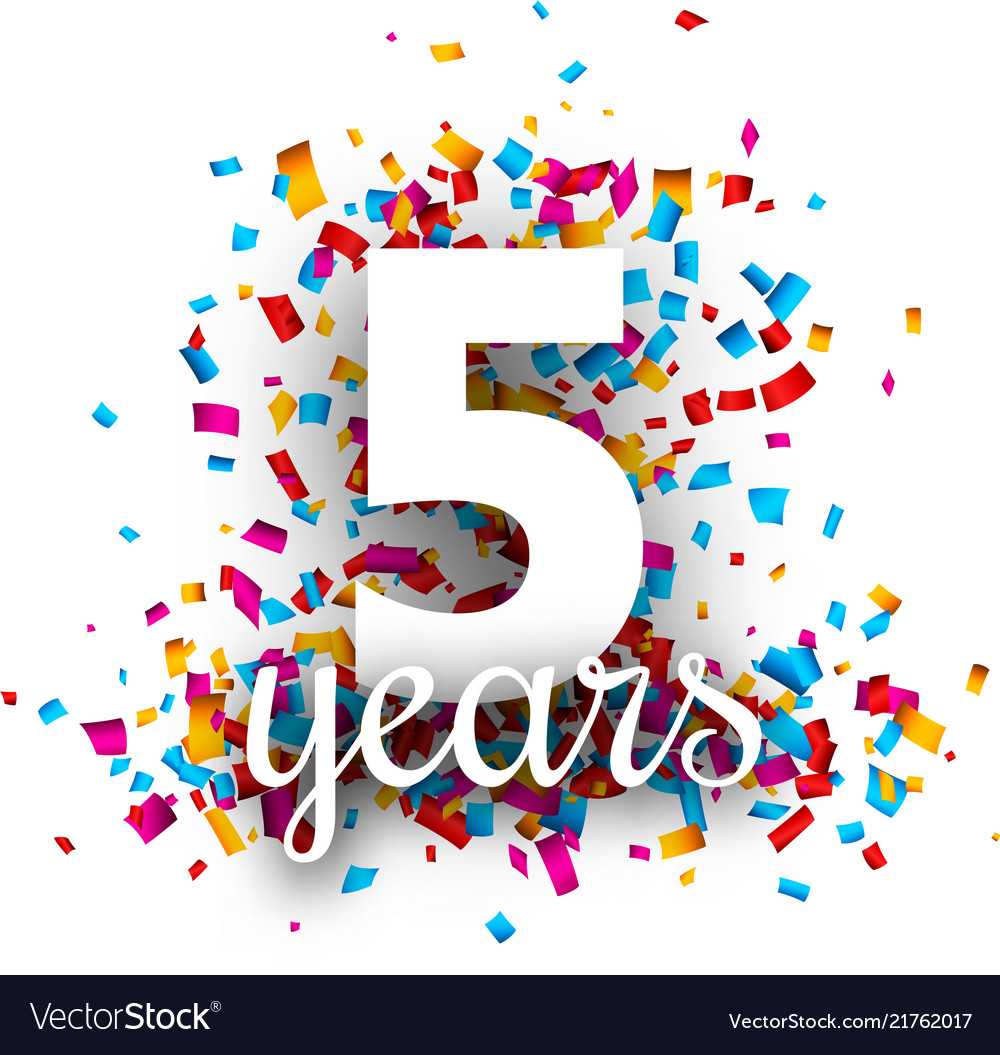 Five Years Anniversary With Colorful Confetti Vector Image