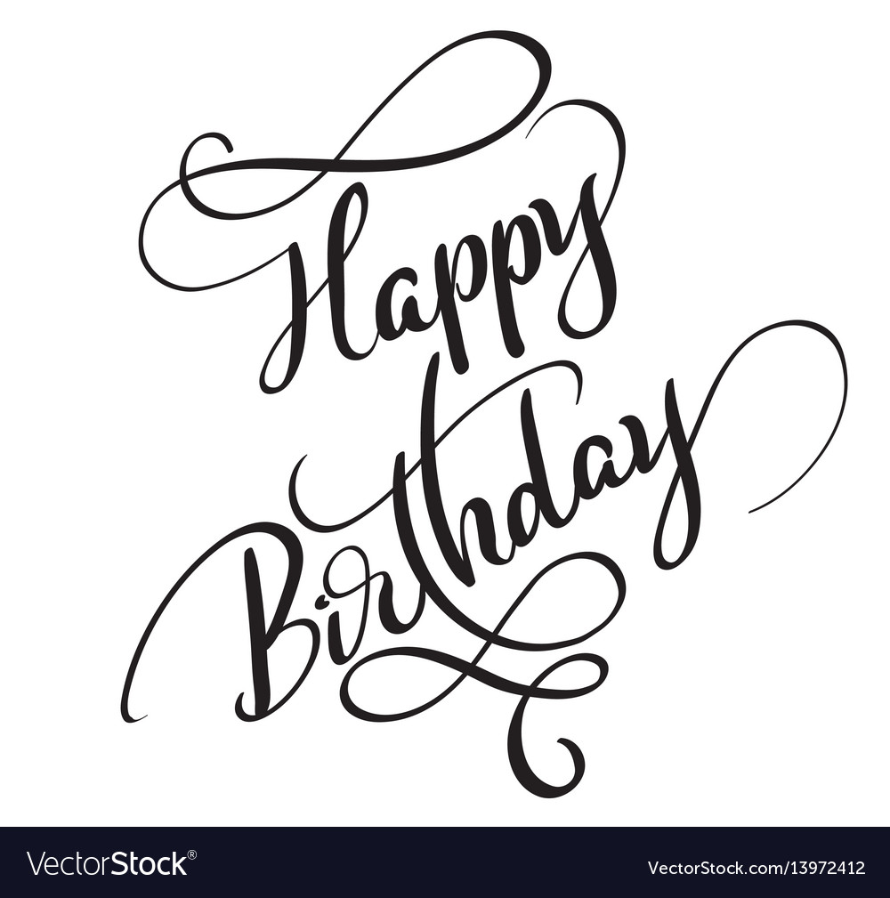 Happy Birthday Words Isolated On White Background Vector Image