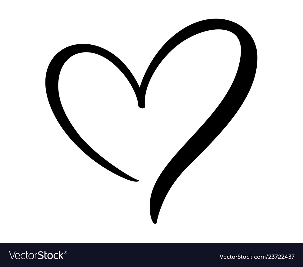 Download Calligraphic love heart sign romantic Royalty Free Vector