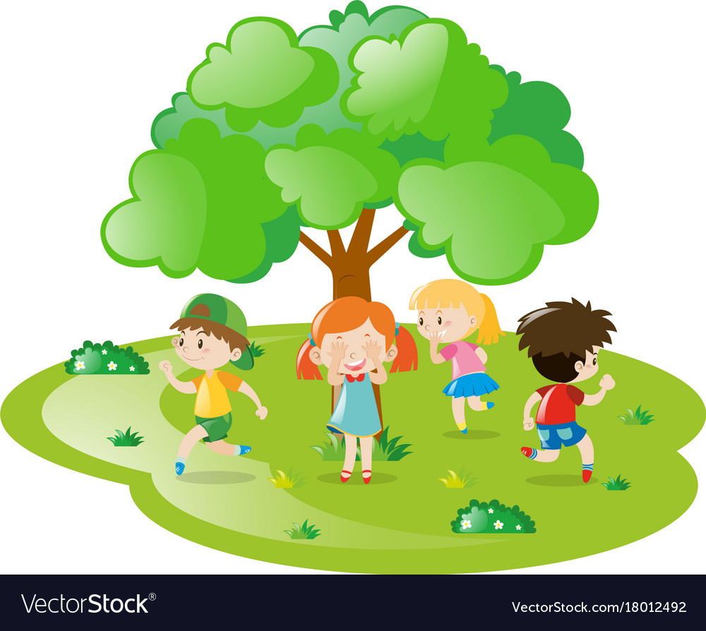 Kids Playing Hide And Seek In The Park
