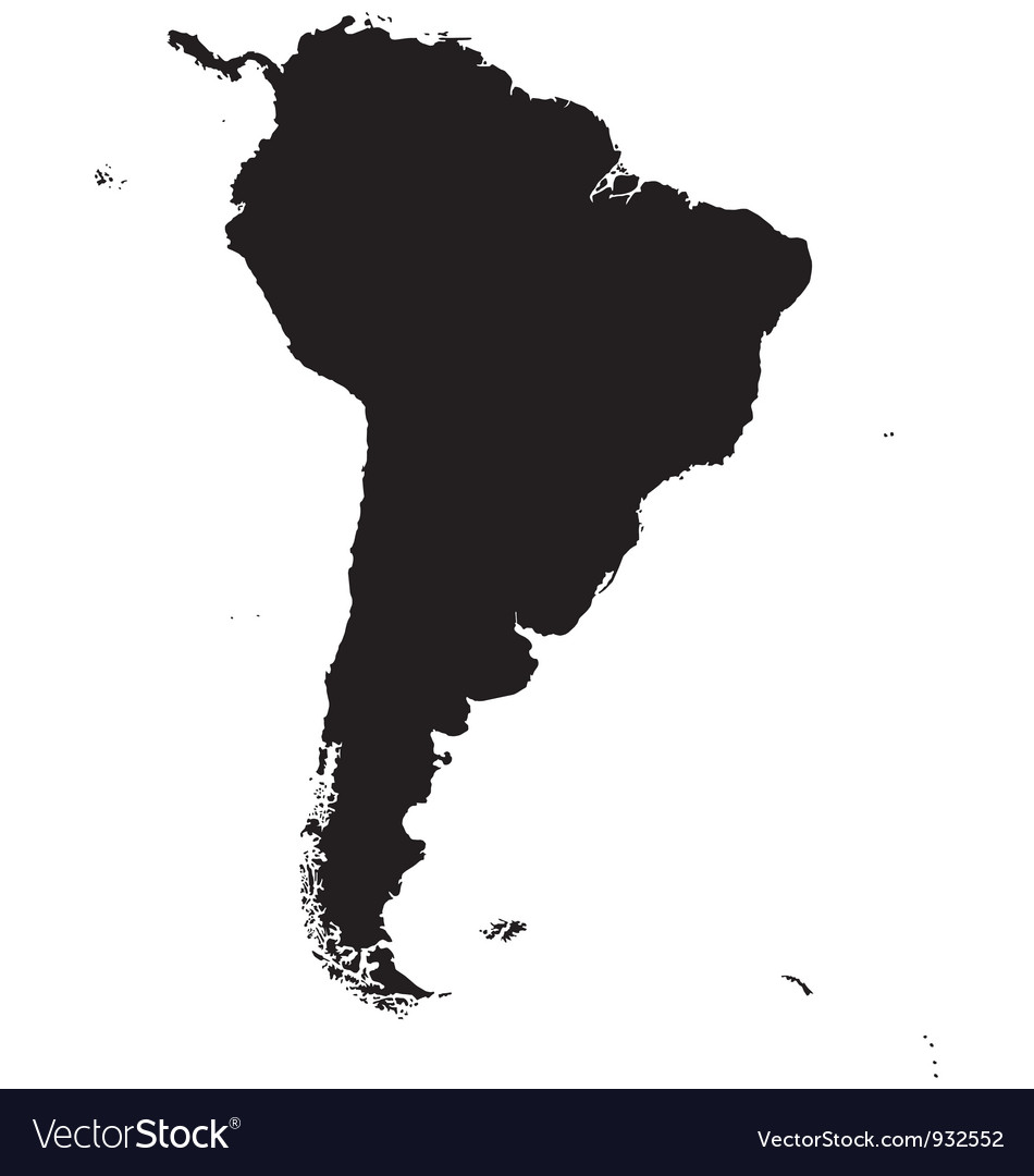Silhouette map of South America Royalty Free Vector Image Silhouette map of South America vector image