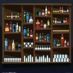 Alcohol Shelf Background Full Of Bottles
