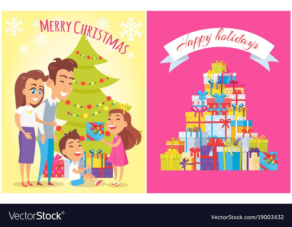 Merry Christmas Happy Birthday Royalty Free Vector Image