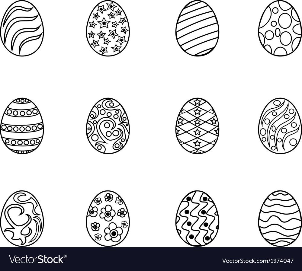 Black Easter Egg Outline Royalty Free Vector Image