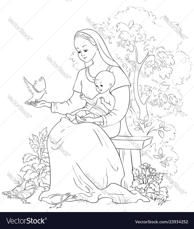 Mother mary with baby jesus coloring page Vector Image