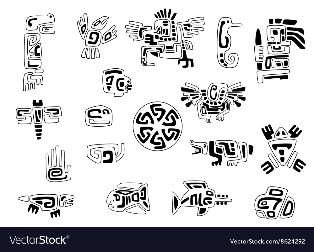 Set Of Stylized Native American Symbols Royalty Free Vector