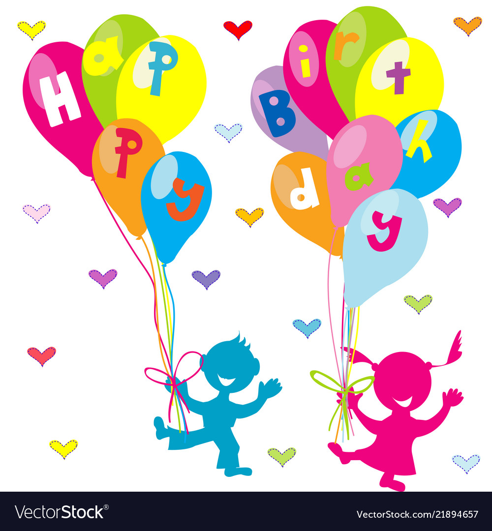 Happy Birthday Greeting Card With Children And Vector Image
