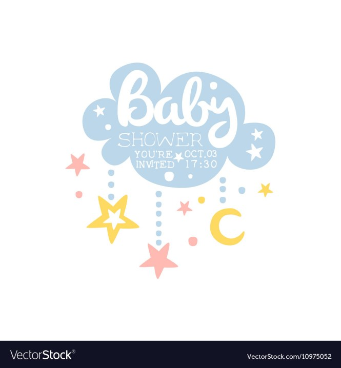 Cloud And Stars Baby Shower Invitation Design