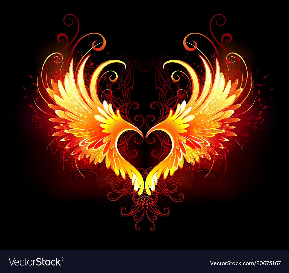 Angel Fire Heart With Wings Royalty Free Vector Image