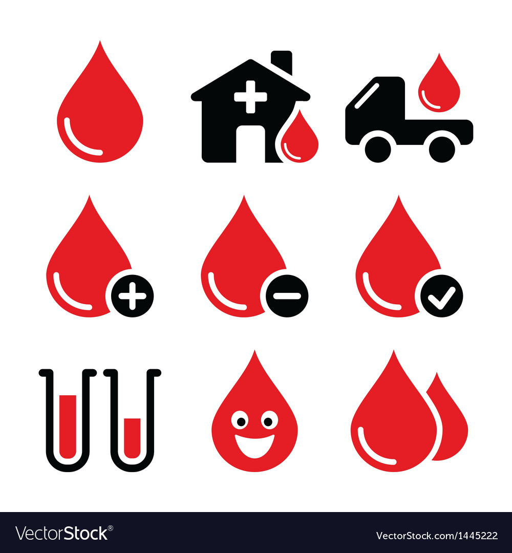 Blood Donation Icons Set Royalty Free Vector Image