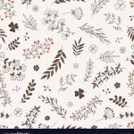 Doodle Floral Branches Seamless Pattern Royalty Free Vector