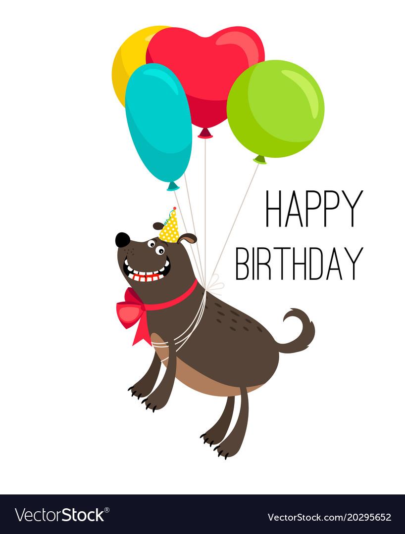 Happy Birthday Dog Card Royalty Free Vector Image