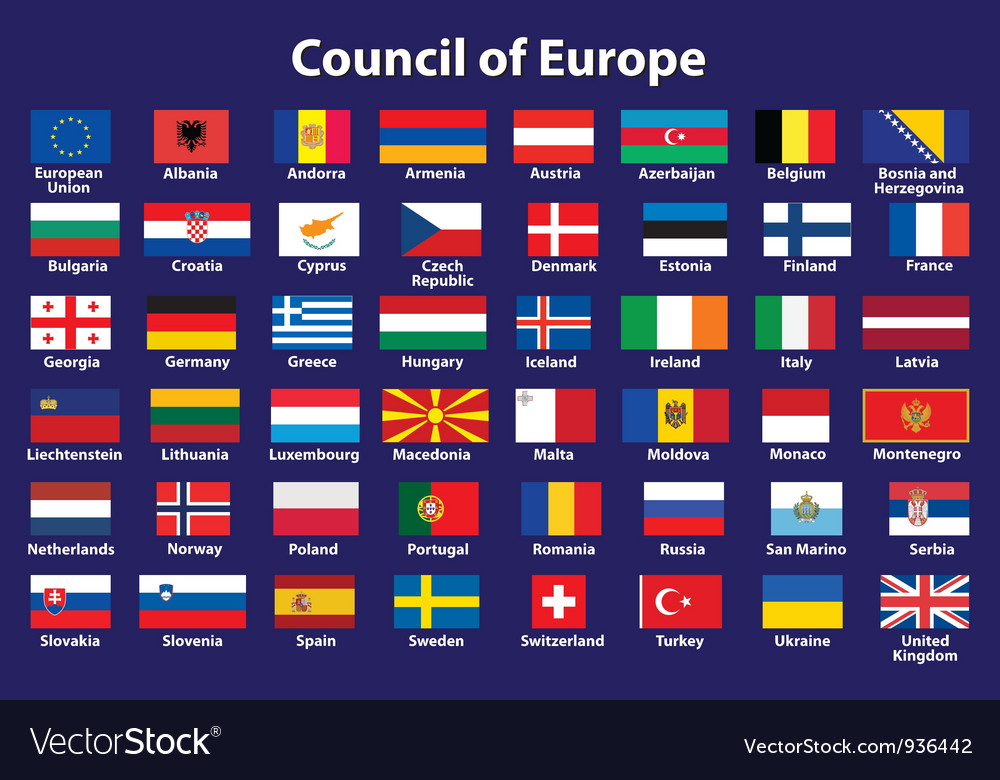 Council Of Europe Flags Royalty Free Vector Image