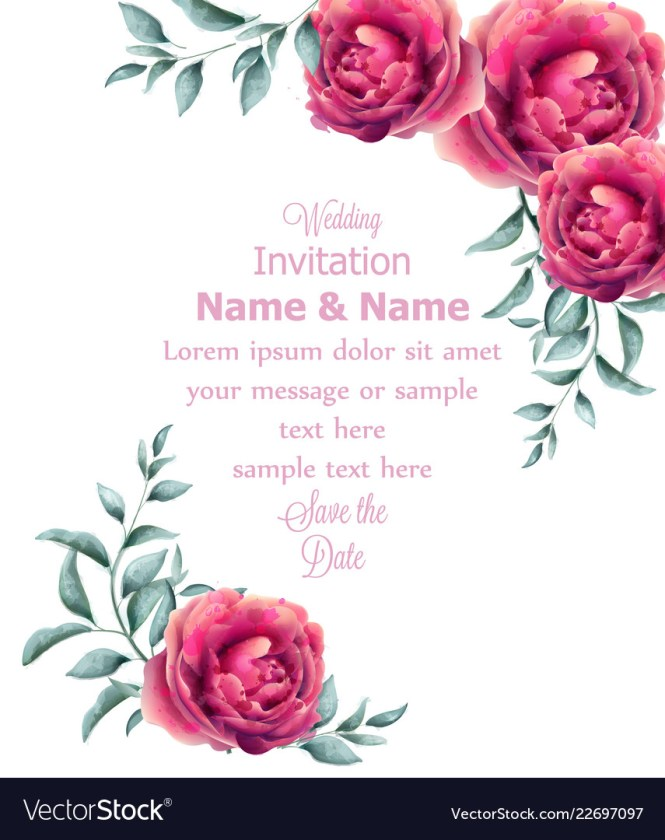 Rose Flowers Watercolor Frame Vector Image