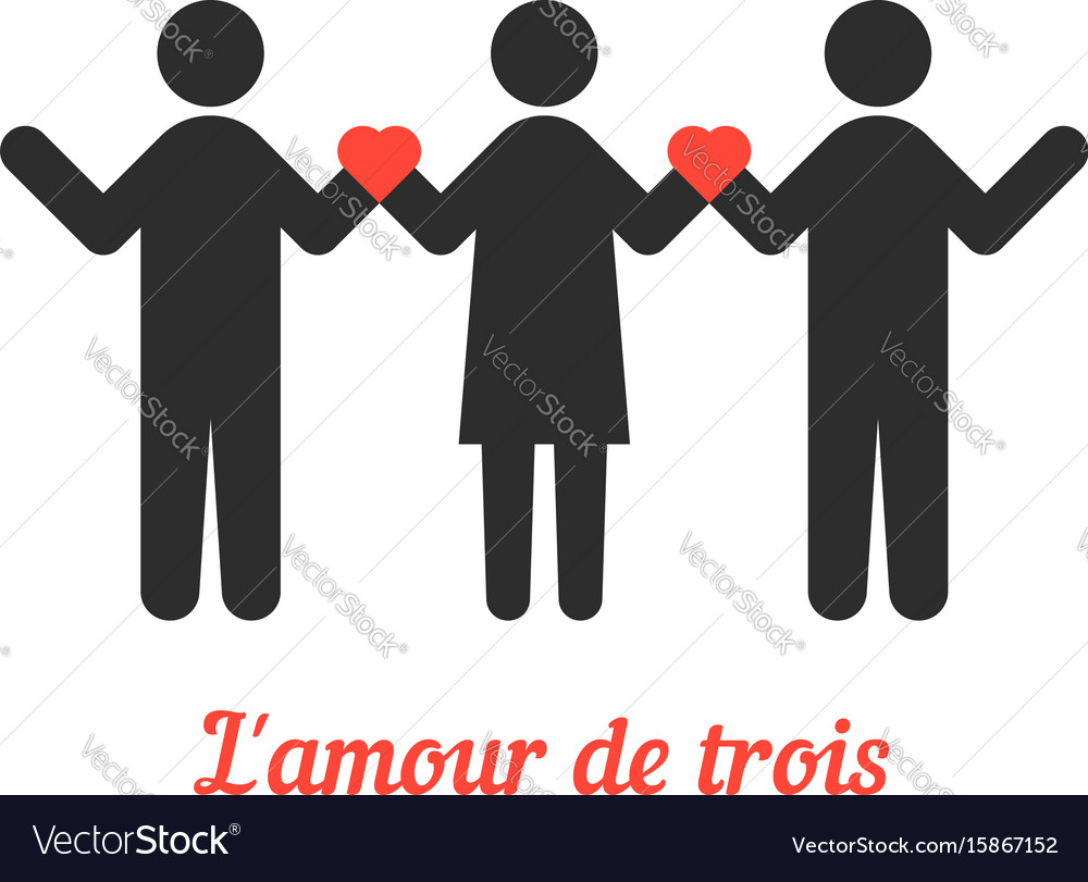 Download Love threesome with stick people Royalty Free Vector Image