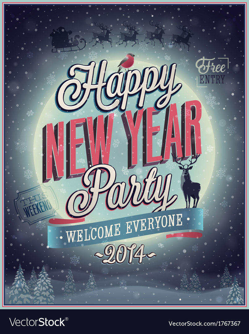 New Year poster Royalty Free Vector Image   VectorStock New Year poster vector image