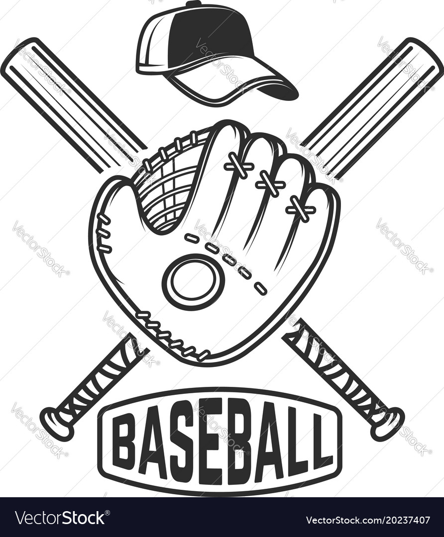 Download Emblem with crossed baseball bat and baseball Vector Image