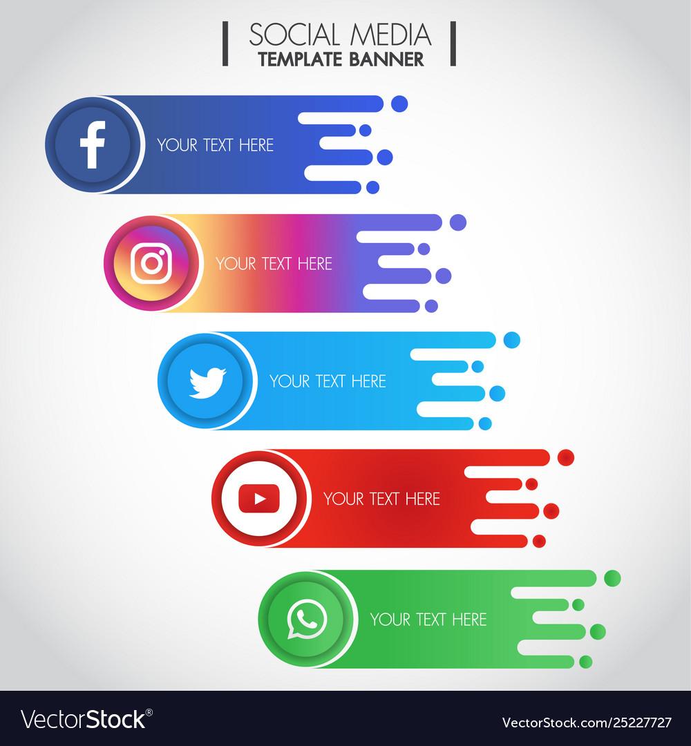 Set Popular Social Media Icons Template Banner