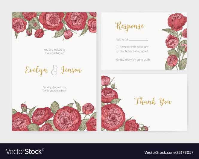 Bundle Of Elegant Wedding Invitation Response