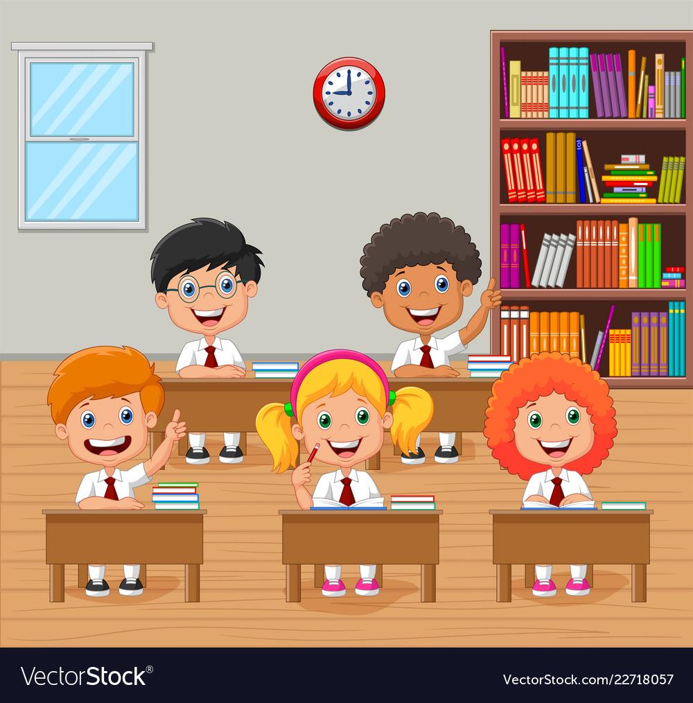 Cartoon School Kids Raising Hand In The Classroom Vector Image
