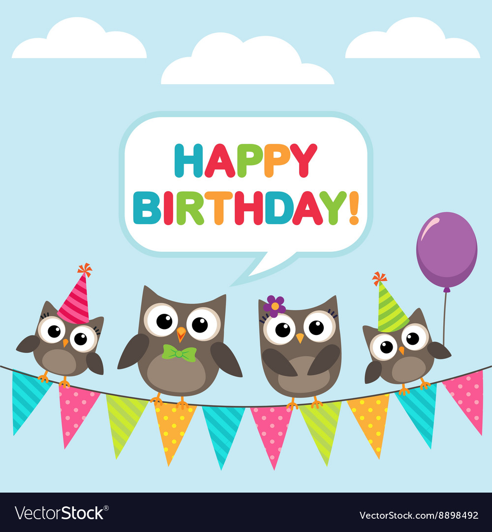Happy Birthday Card With Owls Royalty Free Vector Image