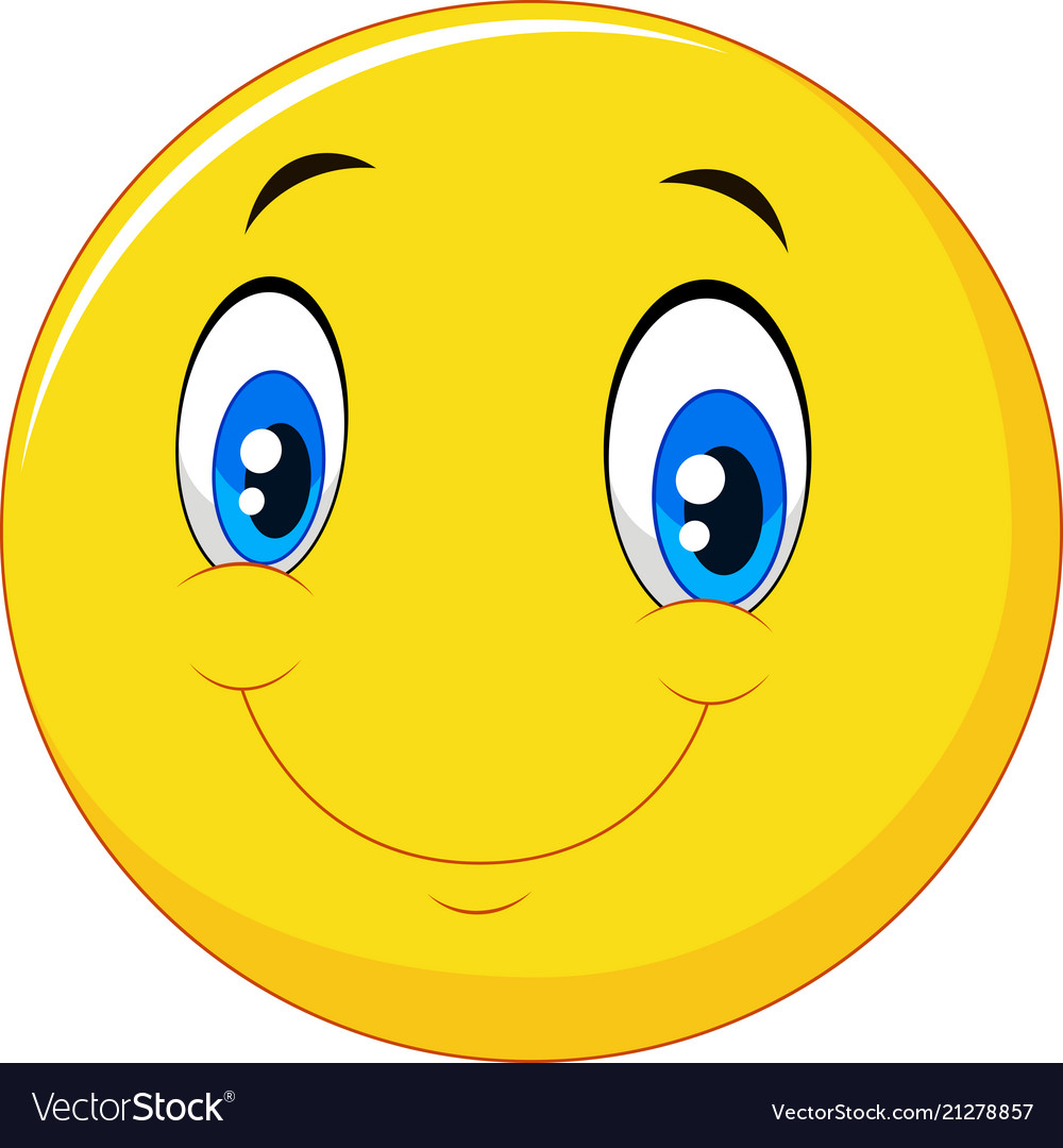 Happy Smile Face Emoticon On White Background Vector Image