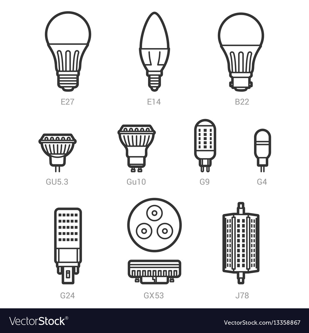 Led Light Lamp Bulbs Outline Icon Set Royalty Free Vector