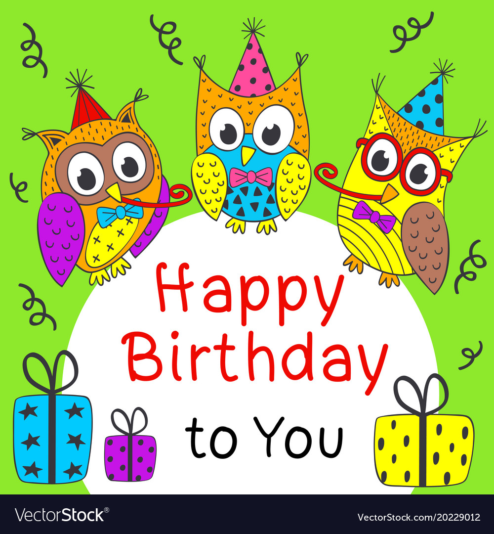 Happy Birthday Card With Funny Owls Royalty Free Vector