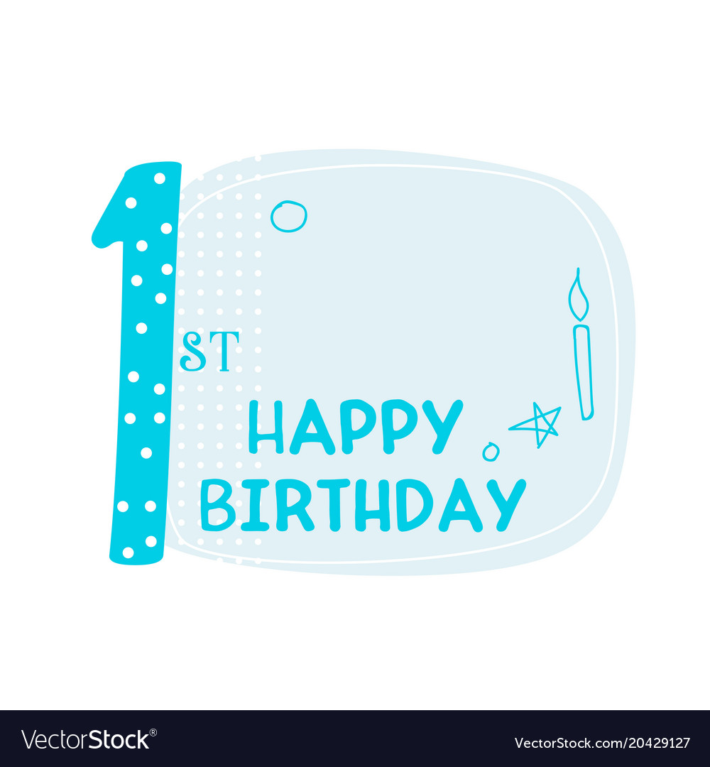 Cute First Happy Birthday Card Design Royalty Free Vector